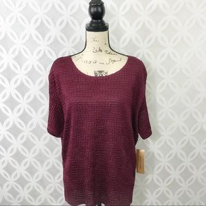 Notations Burgundy Blouse NWT